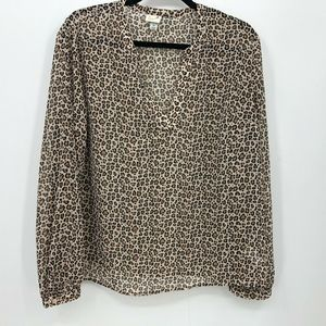 A New Day Leopard Print Top Size XL V-Neck